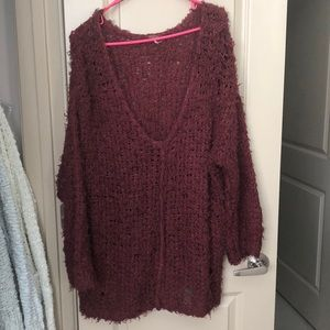 Free People distressed open knit sweater L